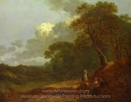 Wooded Landscape with a Man Talking to Two Seated Women painting reproduction, Thomas Gainsborough