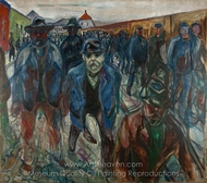 Workers on their Way Home painting reproduction, Edvard Munch