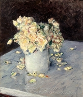 Yellow Roses in a Vase painting reproduction, Gustave Caillebotte