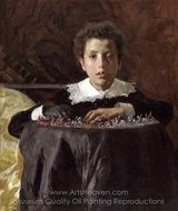 Young Boy with Toy Soldiers painting reproduction, Antonio Mancini
