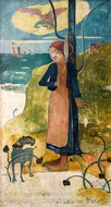 Young Breton Scooting painting reproduction, Paul Gauguin