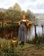 Young Girl by a Stream painting reproduction, Daniel Ridgway Knight