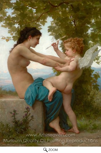 William A. Bouguereau, Young Girl Defending Herself Against Cupid (Jeune Fille se Defendant Contre L'amour) oil painting reproduction