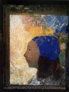 Young Girl in a Blue Bonnet painting reproduction, Odilon Redon