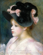 Young Girl in a Pink-and-Black Hat painting reproduction, Pierre-Auguste Renoir