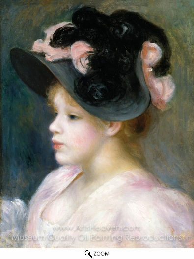Pierre-Auguste Renoir, Young Girl in a Pink-and-Black Hat oil painting reproduction