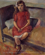 Young Girl in Red painting reproduction, Jules Pascin