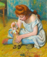 Young Girl Playing with a Doll painting reproduction, Federico Zandomeneghi