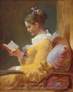 Young Girl Reading painting reproduction, Jean-Honore Fragonard