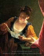 Young Girl Reading a Letter painting reproduction, Jean Raoux