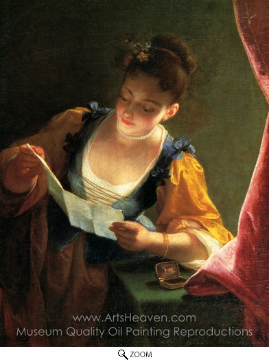 Jean Raoux, Young Girl Reading a Letter oil painting reproduction