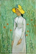 Young Girl, Standing in Front of a Wheat Field painting reproduction, Vincent Van Gogh