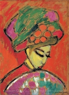 Young Girl with a Flowered Hat painting reproduction, Alexei Von Jawlensky
