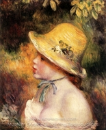 Young Girl with a Straw Hat painting reproduction, Pierre-Auguste Renoir
