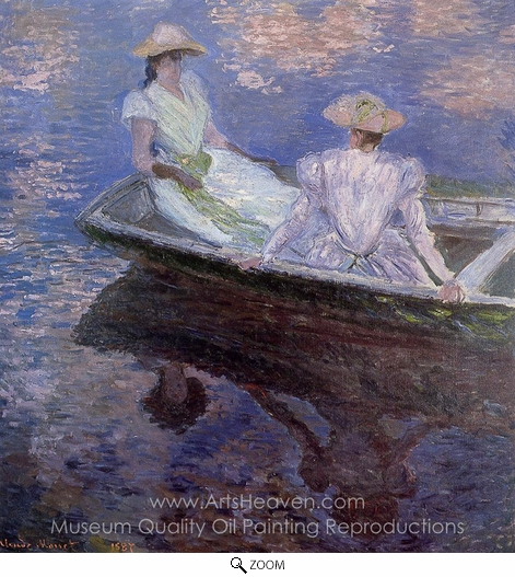 Claude Monet, Young Girls in a Row Boat oil painting reproduction