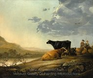 Young Herdsmen with Cows painting reproduction, Aelbert Cuyp