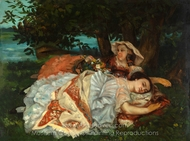 Young Ladies on the Bank of the Seine painting reproduction, Gustave Courbet
