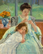 Young Mother Sewing painting reproduction, Mary Cassatt