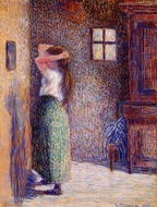 Young Peasant at Her Toilette painting reproduction, Camille Pissarro