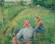 Young Peasant Girls Resting in the Fields Near Pontoise painting reproduction, Camille Pissarro