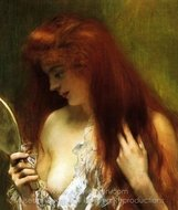 Young Red Head Grooming Herself painting reproduction, Henri Gervex