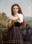 Young Shepherdess (Jeune Bergere) painting reproduction, William A. Bouguereau