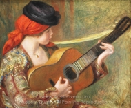 Young Spanish Woman with a Guitar painting reproduction, Pierre-Auguste Renoir