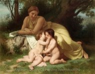 Young Woman Contemplating Two Embracing Children painting reproduction, William A. Bouguereau