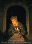 Young Woman Holding a Lamp painting reproduction, Gerrit Dou