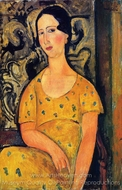 Young Woman in a Yellow Dress (Madame Modot) painting reproduction, Amedeo Modigliani
