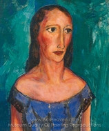 Young Woman in Blue Dress painting reproduction, Alfred Henry Maurer