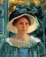 Young Woman in Green, Outdoors in the Sun painting reproduction, Mary Cassatt