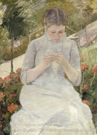 Young Woman in the Garden painting reproduction, Mary Cassatt