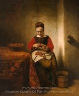 Young Woman Peeling Apples painting reproduction, Nicolaes Maes