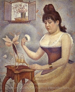 Young Woman Powdering Herself painting reproduction, Georges Seurat