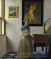 Young Woman Standing at a Virginal painting reproduction, Jan Vermeer