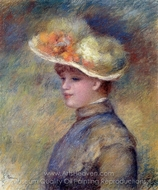 Young Woman Wearing a Hat painting reproduction, Pierre-Auguste Renoir