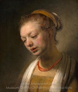 Young Woman with a Red Necklace painting reproduction, Rembrandt Van Rijn