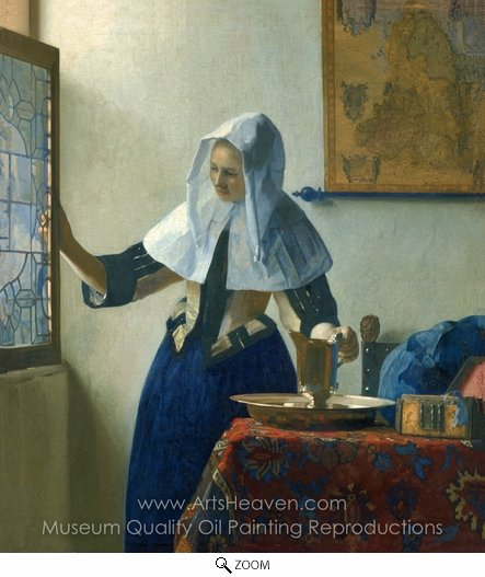 Jan Vermeer, Young Woman with a Water Pitcher oil painting reproduction