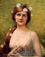 Young Woman with Morning Glories in Her Hair painting reproduction, Jules Joseph Lefebvre