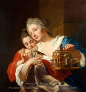 Young Women with Chaffinch painting reproduction, Jean Raoux