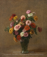 Zinnias painting reproduction, Henri Fantin-Latour