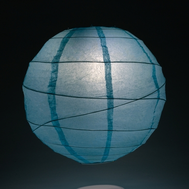 "12"" Baby Blue Round Paper Lantern, Crisscross Ribbing, Hanging Decoration"