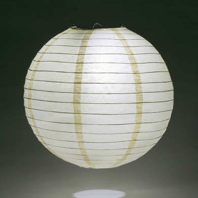 "12"" Ivory Round Paper Lantern, Even Ribbing, Hanging Decoration"