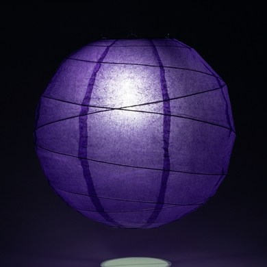 "12"" Plum Purple Round Paper Lantern, Crisscross Ribbing, Hanging Decoration"