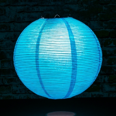 "12"" Turquoise Fine Line Premium Even Ribbing Paper Lantern, Extra Sturdy"