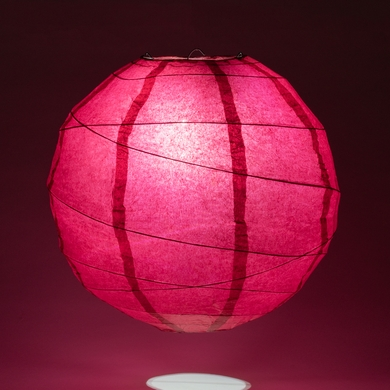 "12"" Velvet Rose Red Round Paper Lantern, Crisscross Ribbing, Hanging Decoration"