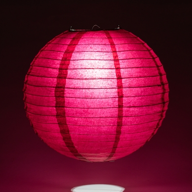 "12"" Velvet Rose Red Round Paper Lantern, Even Ribbing, Hanging Decoration"