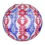 "14"" Bohemian Painted Spirit Red, White, Blue Patterned Premium Paper Lantern"