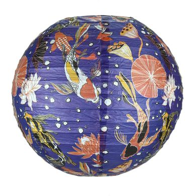 "14"" Midnight Koi Fish Pond Premium Paper Lantern"
